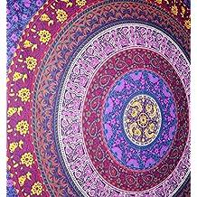 Rawyal-Barhmeri Tapiz, Círculo de flores, multicolor, estilo Mandala - Tapiz indio, de pared, 1,37x 2,13 m