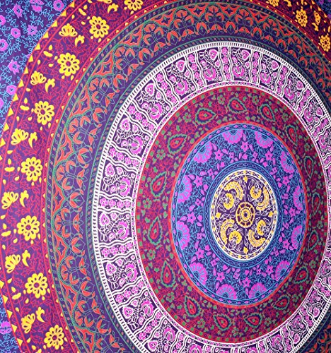 rawyal-barhmeri-circle-of-flowers-tapestrymulti-colored-mandala-tapestry-indian-wall-hanging-54-x-84