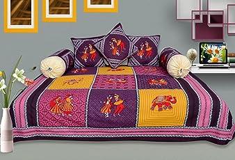 RajasthaniKart Maherab 6 Piece 144 TC Cotton Diwan Set
