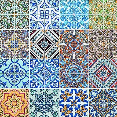 Servilletas (2 Juegos / 40 uds) 3 capas 33x33 cm Muestra Verano Azulejos (Azulejos)