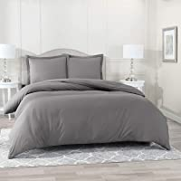 Huesland 300 TC Cotton Double Duvet Cover with 2 Pillow Covers- 87x95 inches, Grey