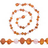 Genuine Baltic Amber Necklace - Raw not Polished Beads - Multicolor - Knotted Between Beads - Sizes from 30 to 36 cm