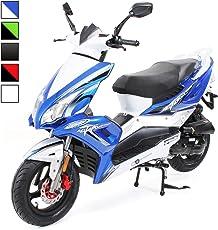 Matador Scooter JJ-50 ccm EURO 4 Roller/Mofa 2,5KW Sport Roller Motorroller 25 km/h 50cc wahlweise Mofa, Roller 25km/h / 45km/h zwei Sitzplätze (Geschwindigkeit: 25km/h - Farbe: Blau/Weiß)