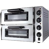 Pizzaofen elektrisch 3000 Watt Edelstahl mit 2 Kammern Steinbackofen mit Schamottstein