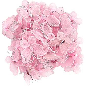 New 12 Sheer Fabric Glitter Organza Butterflies Florist Wire Cakes Crafts 8cm