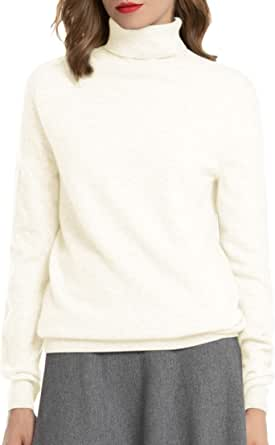 Woolen Bloom Maglione Collo Alto Donna 100% Maglione Cashmere Pullover Manica Lunga Primavera Estate Autunno