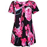 Womens Floral Print Ladies Short Sleeves Stretch Round Scoop Neckline Long Smock Tunic T-Shirt Top Plus Size