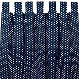 Sugarapple Dekoschal, Gardine, Vorhang (über 35 Farben wählbar) mit Schlaufen aus Baumwolle für Kinderzimmer und Babyzimmer. 2 Schals, Breite 143 cm, Länge 230 cm, dunkelblau mit weißen Sternen