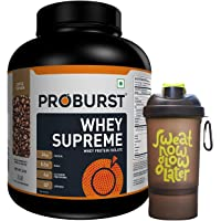 Proburst Supreme Whey Protein Powder With Glutamine & BCAAs 2 Kg |60 Servings | 24 gm Protein Per Serving -(Coffee Flavour) with Nutradict Shaker