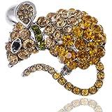 Alilang topazio cristallo STRASS Cheese mouse criceto gioiello moda spilla