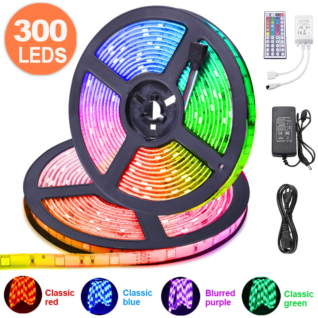 10M RGB Tira de LED 12V con Chip SMD 5050, ESEYE IP65 Impermeable Flexibles Multicolor 300 LEDs Strip Tiras Con Mando a Distancia y Adaptador Corriente Luce de LEDPara TV/Fiestas/Luz Ambiental
