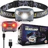 Hoofdlamp LED - USB Oplaadbaar met Fel Rood en Wit Licht - Perfecte Hoofd Zaklamp Verlichting voor Hardlopen, Camping, Lezen,