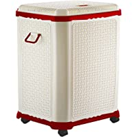 Primeway Setag XL MP Laundry Utility Storage Basket w/Lid on 4 wheels, 50L, Red