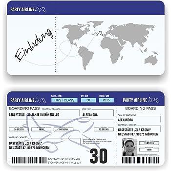 150 Einladungskarten Geburtstag Motiv Flugticket Boarding