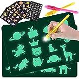 GOLDGE 2pcs Pizarra Infantil Mágica de Dibujo con 4 Plantillas y 2 Bolígrafos Mágicos para Niños, Juego de Pintar Fomenta la