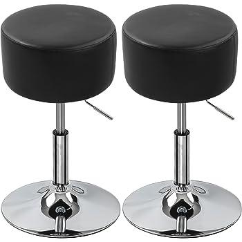 Hochwertige küchenhocker  EUGAD Barhocker Sitzhocker 2er Set Schwarz, verchromter Stahl und ...