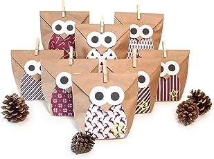 Pajoma DIY Adventskalender Bastelset Christmas Owl red, 1 x 24 Kraftpapiertüten zum Befüllen, inkl. Sticker, Weihnachten