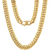 KRKC&CO Men's Necklace Chain, 18k Gold Plated Men's Link Chain, Men's Gold Chain Miami Cuban Link Chain Curb Chain, 6-Side Cu