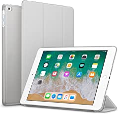 Robustrion Smart Slim Series Trifold Hard Back Flip Stand Case Cover for New iPad 9.7 inch 2018/2017 6th/5th Generation - Grey
