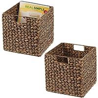 mDesign boîte de rangement en lot de 2 – panier tressé en jacinthe d'eau – accessoire de rangement idéal pour l…
