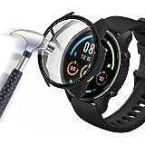 Acadeny hoes met pantserglas displaybescherming Compatibel met Xiaomi Mi Watch Lite, 360 ° rondom beschermhoes ultradunne bes