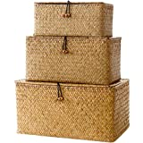 3pcs Seagrass Paniers en osier tissé de stockage de stockage Bins Organisateur polyvalent Conteneur avec couvercle pour le ma