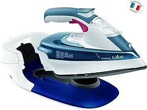 Calor FV9960C0 Fer à Repasser Vapeur Sans Fil Freemove Effet Pressing jusqu'à 150g/min Anti-Goutte Anti-Calcaire 2400W Bleu