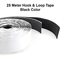 LifeKrafts Hook and Loop Tape (Size 25 Meter x 20mm Width) Self Adhesive Hook Tape, Strong Glue with Durable Quality-Black Color.