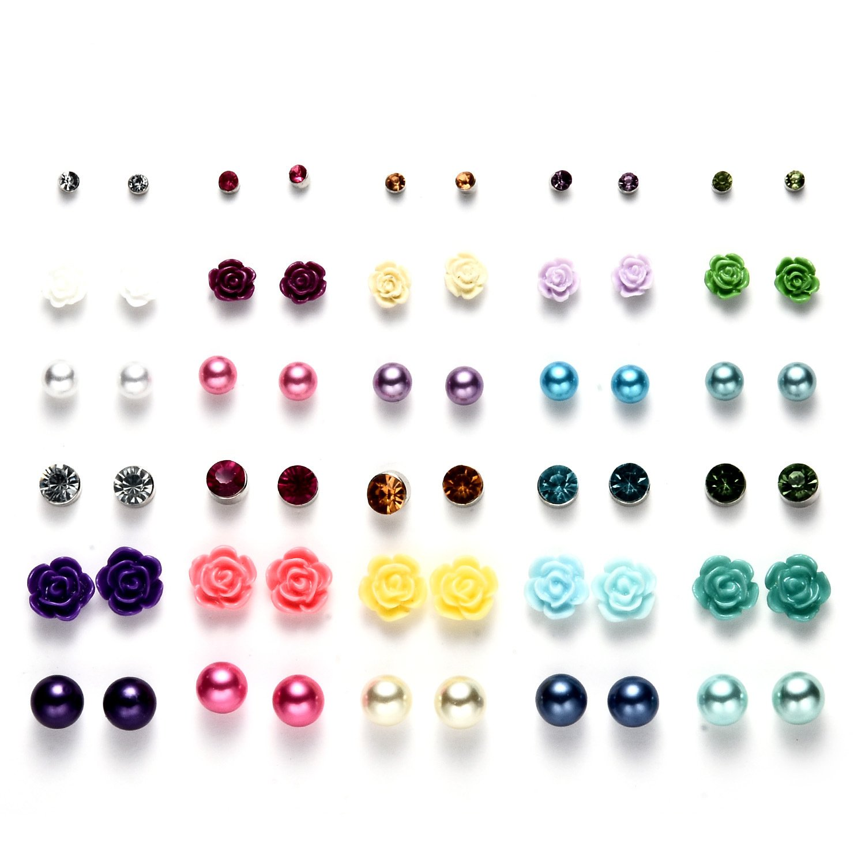 Multi Packs Ball Crystal Flowers Theme Earrings Set for Girls, Hypoallergenic