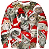 Goodstoworld Unisex 3D Christmas Jumpers Novelty Xmas Animal Elf Printed Sweatshirt Long Sleeve T-Shirt S-XXL