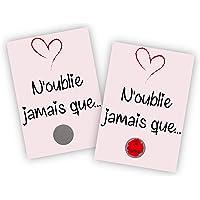 Carte à gratter - Déclaration d'amour originale - N'oublie jamais que je t'aime - Avec pochette cadeau