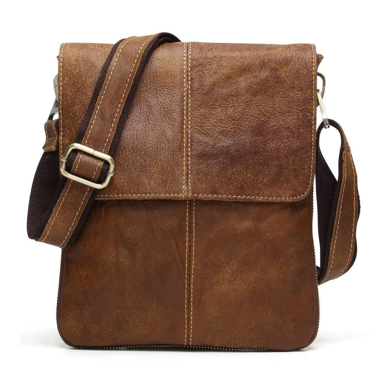BAIGIO Bandolera Hombre Piel Vintage, Bolso de Hombro Cuero Crossbody Bag para Trabajos Negocios