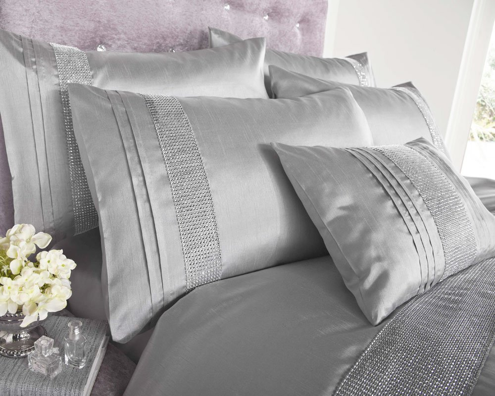 SILVER GREY FAUX SILK DUVET SETS WITH DIAMANTE DETAIL \u0026 MATCHING ...