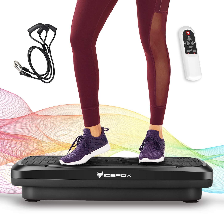Icefox Fitness Vibrationsplatte mit Bluetooth 4.0 Lautsprecher, LCD Display & Fernbedienung, 10 Trainings-Programme, 180 Level