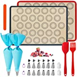 WeChip Tapis de Cuisson silicone patisserie,tapis de four macaron,kit de décoration de gâteau-sac de pâtisserie/Douilles pâti