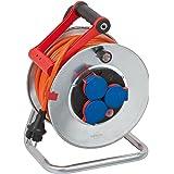 Brennenstuhl enrollacables Garant S IP44 (25 m de cable en color naranja, para uso exterior, fabricado en Alemania)