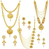 Sukkhi Ethnic Gold Plated Kundan Multi-String Set of 3 Necklace Combo for Women (SKR48716)