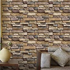 Fancyku Wall Sticker Wall Bricks Rock Pattern Self Adhesive Waterproof Wallpaper for Bedroom Living Room Kitchen Furniture Decor 100cm * 45cm