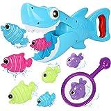 Bammax Juguetes Bañera, 10 pcs Peces Marinos Juguetes de Baño Bebe, Plastico Juego de Ducha Bebe, Juego de Pesca Piscina Niño