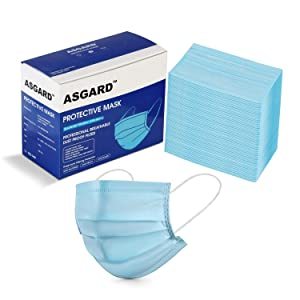 ASGARD® 3 Layer Protective Face Mask with NOSE CLIP, Certified by CE, ISO & GMP with Bacterial Filtration Efficiency(BFE)≥98.5%, Particle Filtration Efficiency(PEE)≥94% (Blue, BOX SEALED PACKAGING)
