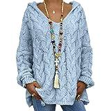 Onsoyours Mujer Suéteres Casuales Punto Jersey con Capucha Cuello En V Color Sólido Manga Larga Suelto Blusa Camiseta Sweater