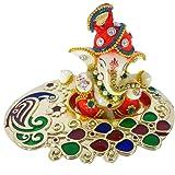Sacred Blessings Polyresin Ganesh Idol on Tray for Car Dashboard Showpiece Ganesh Ji Statue (11 x 8 x 8) cm, Multicolour,1 Pi