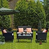 bigzzia Ensemble de meubles de jardin en rotin, 4 pièces, canapé en rotin, comprenant 2 fauteuils, 1 canapé double et 1 table