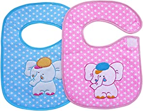 Littly Premium Velcro Bibs Combo, Blue/Pink (Pack of 2)