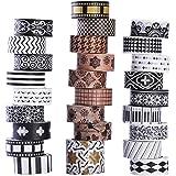 Lot de 27rouleaux de ruban adhésif washi - Ruban de masquage - Design noir et blanc et rétro - Ruban washi décoratif - Idéal