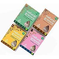Granola Mix -Moras-Cacao-Goji- Arándano- Frutta secca e Semi 100% naturale - BIO - Senza Glutine- Senza lattosio -Senza Zuccheri Reffinato Aggiunti. Pack 4x325g