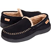 Zigzagger Men's Microsuede Moccasin Slippers Memory Foam House Shoes