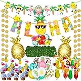 vamei 78 st hawaiianska festdekorationer med aloha party banderoll flamingo ananas tårtdekorationer ballonger dricka sugrör p