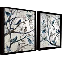 Painting Mantra Floral Canvas Painting for Wall, Bird on Tree Framed Painting for Living Room Black, Size : 13x13 Inches