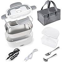 Gamelle Chauffante Lunch Box Chauffante ,Électrique pour Voiture Camion Bureau Travail 12V+220V, 304 Acier Inoxydable 1…